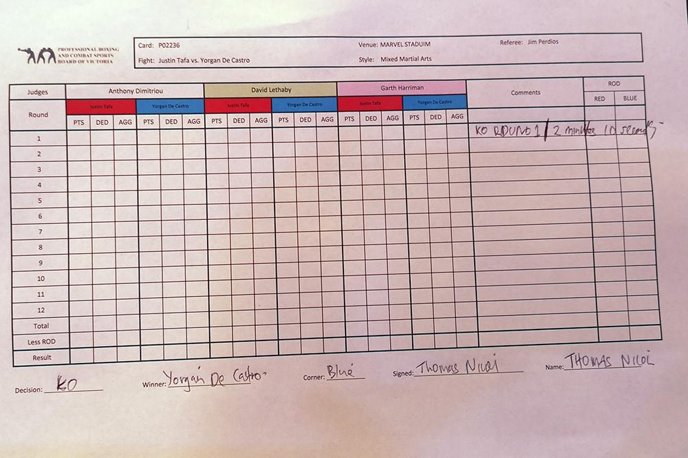 Yorgan De Castro (6-0 MMA, 1-0 UFC) venceu Justin Tafa (3-1 MMA, 0-1 UFC) por nocaute