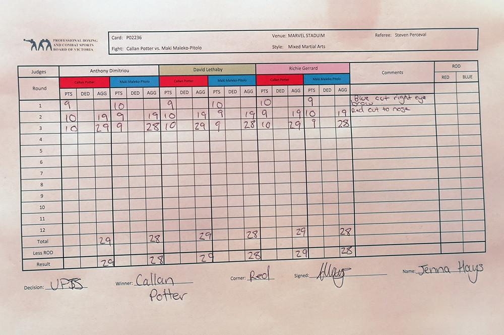 Callan Potter (18-8 MMA, 1-1 UFC) venceu Maki Pitolo (12-5 MMA, 0-1 UFC) por decisão unânime