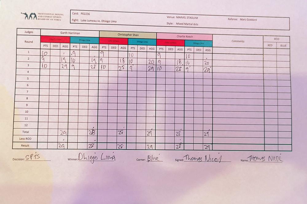 Dhiego Lima (15-7 MMA, 4-5 UFC) venceu Luke Jumeau (13-5 MMA, 2-2 UFC) por decisão dividida