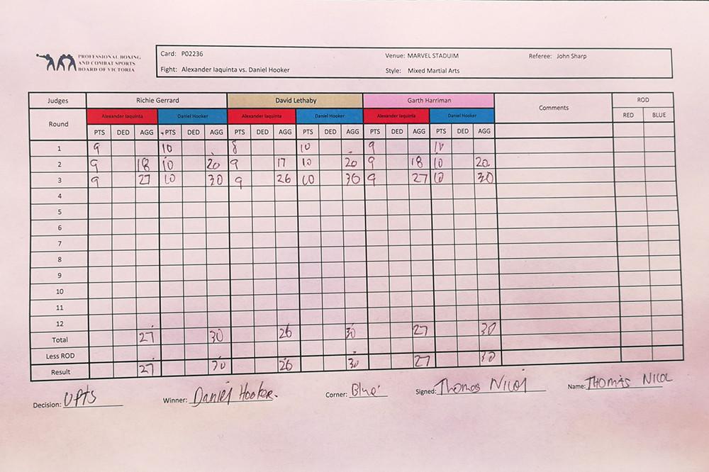 Dan Hooker (19-8 MMA, 9-4 UFC) venceu Al Iaquinta (14-6-1 MMA, 9-5 UFC) por decisão unânime