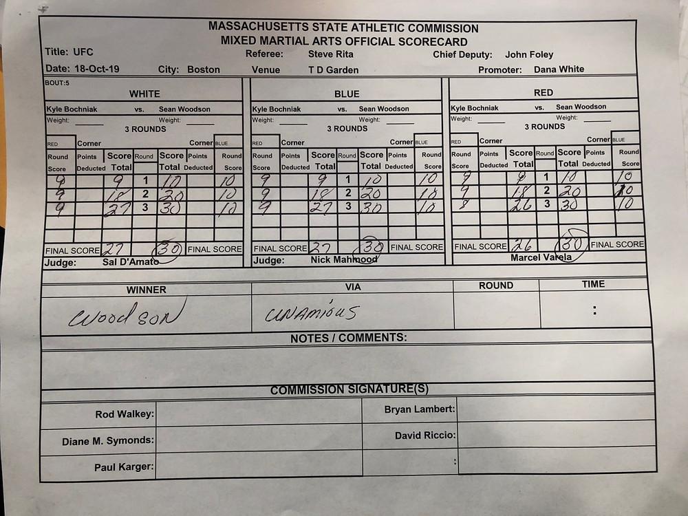 Sean Woodson venceu Kyle Bochniak por decisão unânime (30–26, 30–27, 30–27)