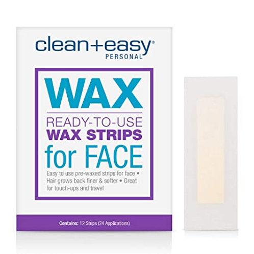 CLEAN EASY FACIAL WAX STRIPS 12 UNID