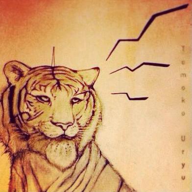 虎好きな友達に描いた。