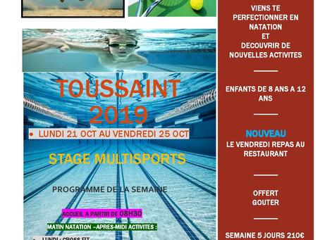 STAGE  TOUSSAINT ENFANTS                Natation+ Multisports