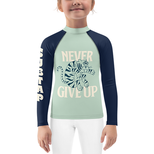 NEVER GIVE UP - Kids Rash Guard