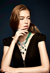 Synthetic emerald necklace