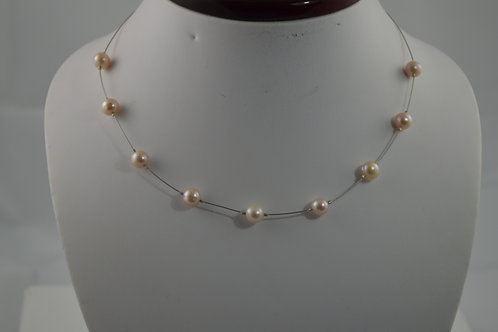 Floating ivory freshwater pearl necklace