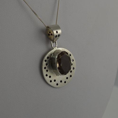 Smoky quartz round pendant