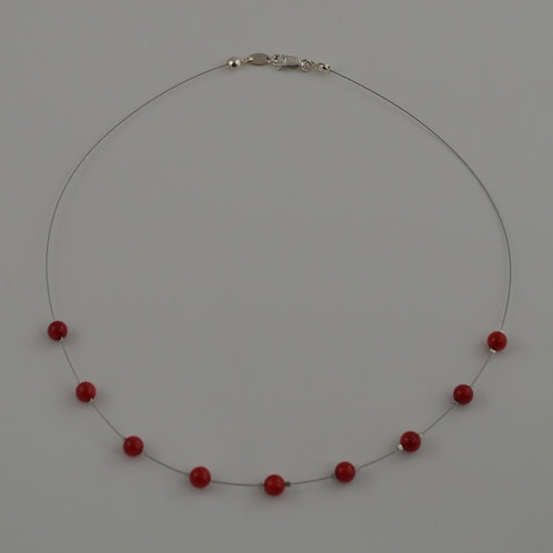 Red coral floating necklace