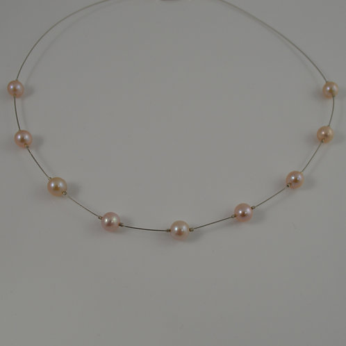Pale pink cultured pearl floating necklace