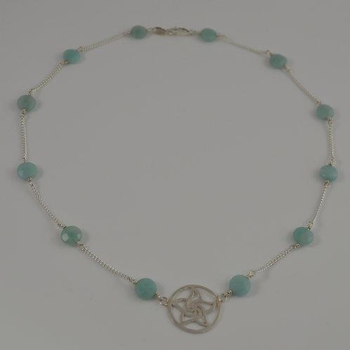 Pale blue spiral star necklace