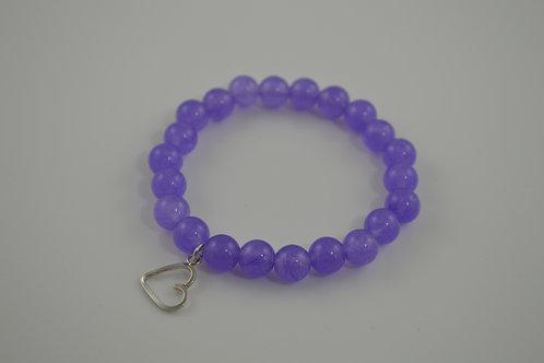 Single heart charm lilac bracelet