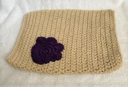 Tanish Cream Knitted Snood with Purple Flower