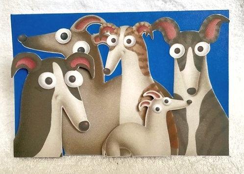 2D 5 Greyhounds on Blue Blank Card