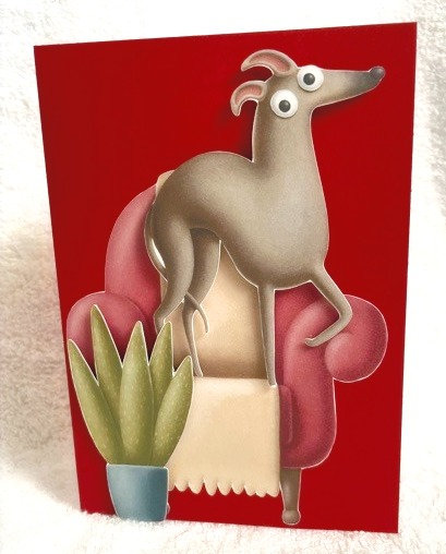 2D Greyhound in house on Red Blank Card