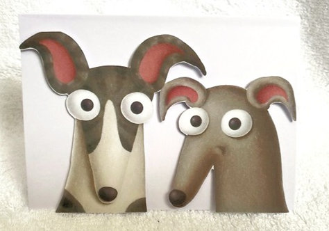 2D 2 Greyhounds on White Blank Card