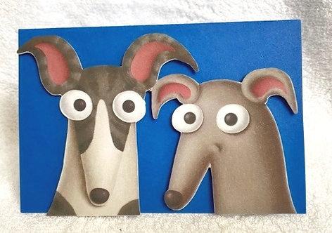 2D 2 Greyhounds on Blue Blank Card