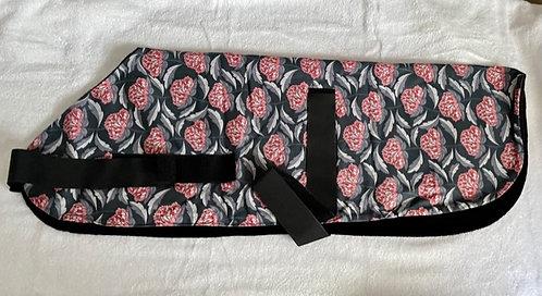 Greyhound  Navy w/pink flowers coat wrap around with velcro
