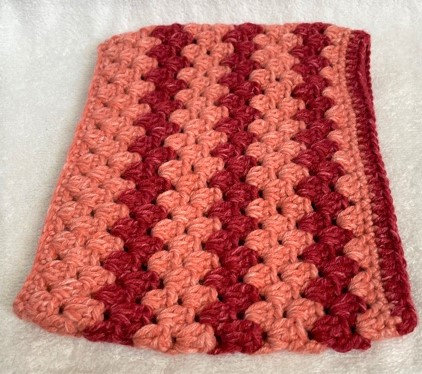 Knitted Snood in Dark Pink and Pinkish Red