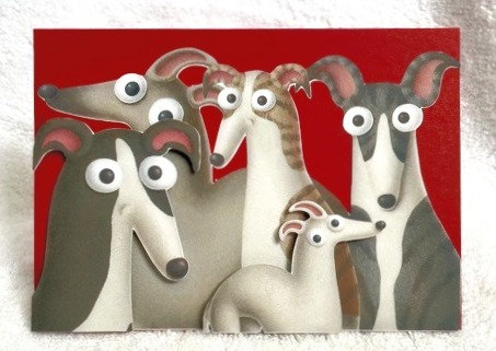 2D 5 Greyhounds on Red Blank Card
