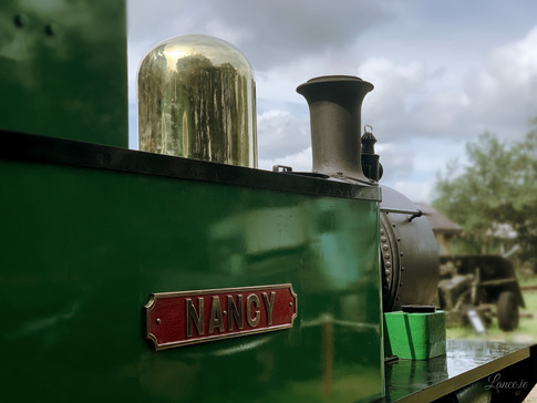 Close up of Nancy, her dome and name plate