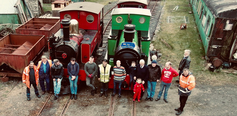 The C&L Team pose for a drone shot group picture with Steam engines Nancy and Dromad