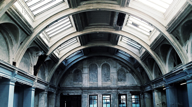 The ceiling over yet to be restored drawing rooms of the original Harland and Wolff HQ