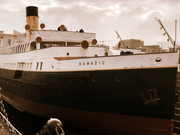 The nomadic was a tender for Titanic, used to ferry passengers between the ship and the dock when the dock was too small for the ship to dock. The Nomadic is the only remaining vessel from the White Star Line fleet.