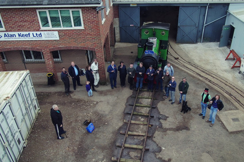 All those who attended Nancy's first steam test in Ross-on-wye pose for a drone shot