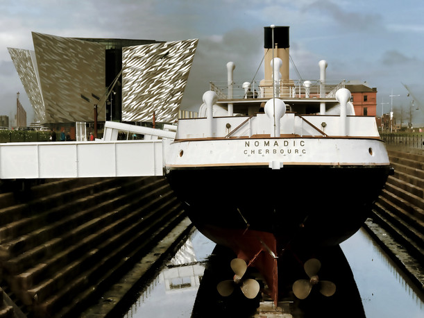 A shot of the Nomadic and Titanic Belfast together in one scene.