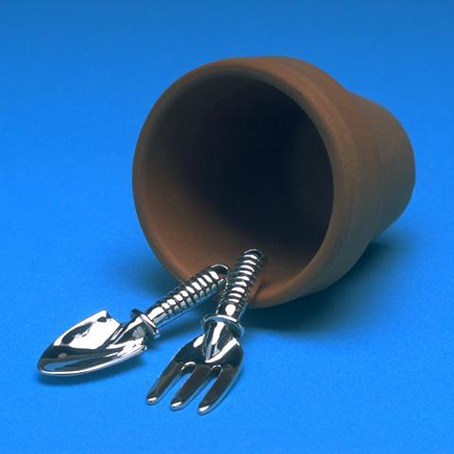 Fork and trowel with clay pot