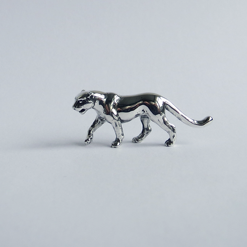 Tiny panther figurine in solid silver