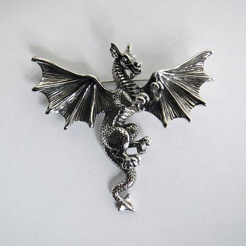 Silver dragon brooch