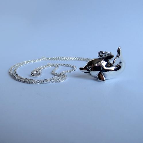 Happy dolphin pendant, silver