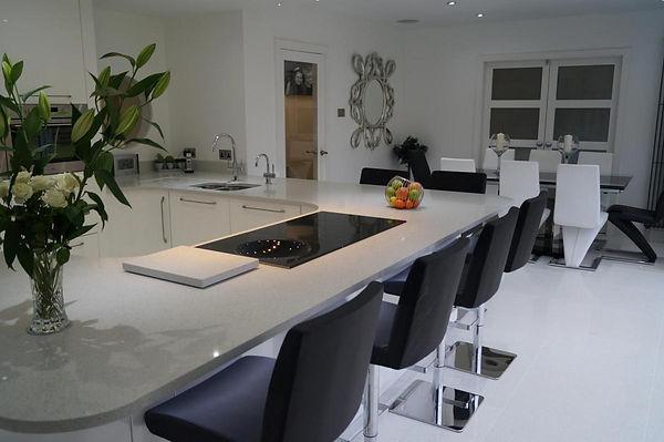 Kitchen with White Quartz Worktop from The Kitchen Island