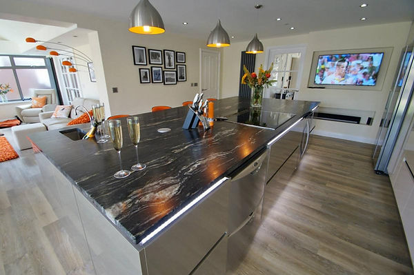 Kitchen with Granite Worktop from the Kitchen Island
