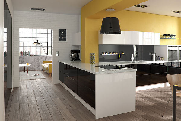 Glacier Modern Doors in Black and White from The Kitchen Island