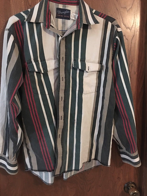 Vintage Wranglar Western Shirt 161/2 -35  buttoned 80-90's green  cottoWe