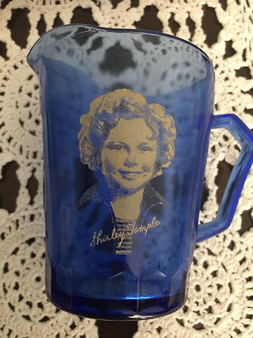 vintage 1930 Shirley Temple Cobalt Milk Pitcher