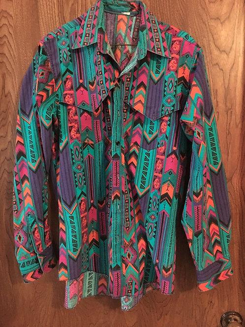 Vintage 80s 90s Wrangler Cowboy cut regular Button Shirt  multi colors 161/2-35