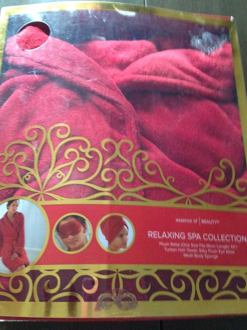NEW Essence of BEAUTY Relaxing Spa Collection Red/ creme Plush Robe One Size