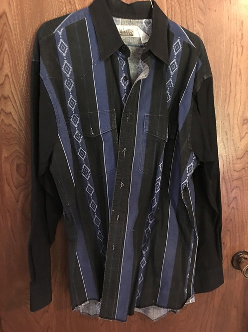 Vintage Express Riders Mens Size Large Button Down Shirt 100%cotton