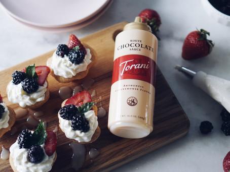 4th of July White Chocolate Fruit Tarts with Torani