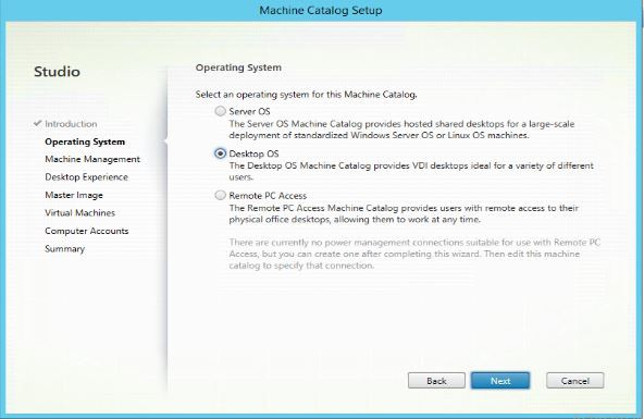 Select the type of OS used Desktop, Server or Remote PC