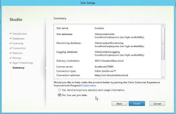 Citrix XenApp/XenDesktop site creation summary