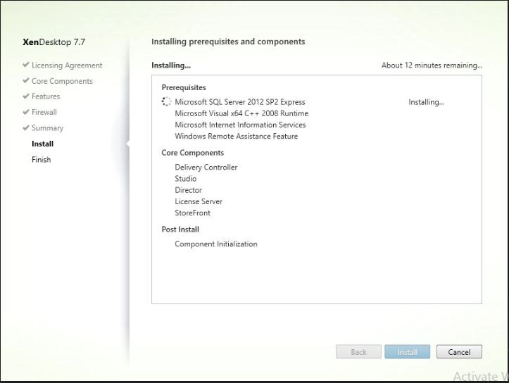 Progress of Citrix XenDesktop installation