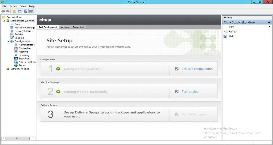 Citrix Studio showing machine catalog successfully created