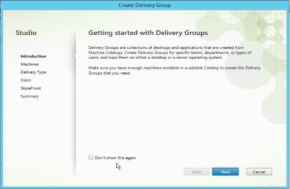 Getting started with delivery groups