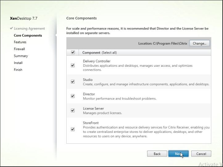 Show the Citrix XenDesktop core components that can be installed