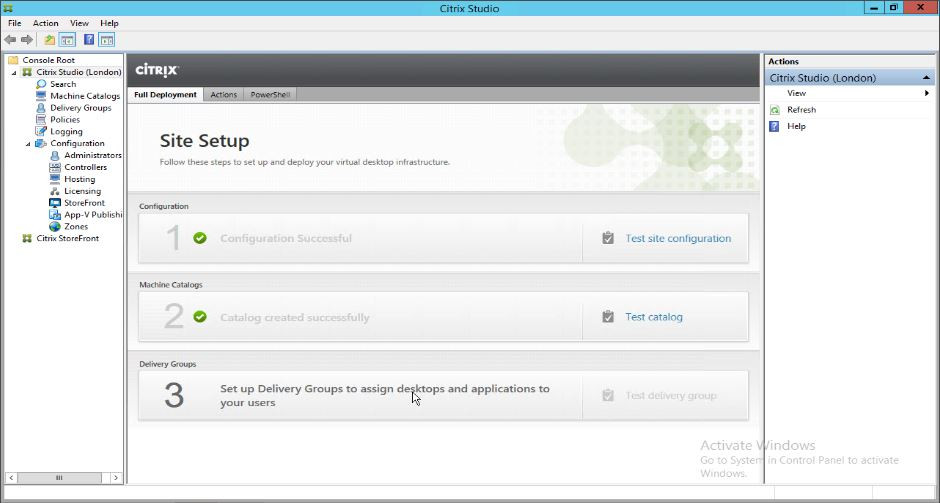 Create the first delivery group using Studio